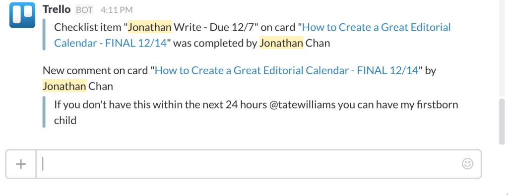 editorial calendar in slack from trello