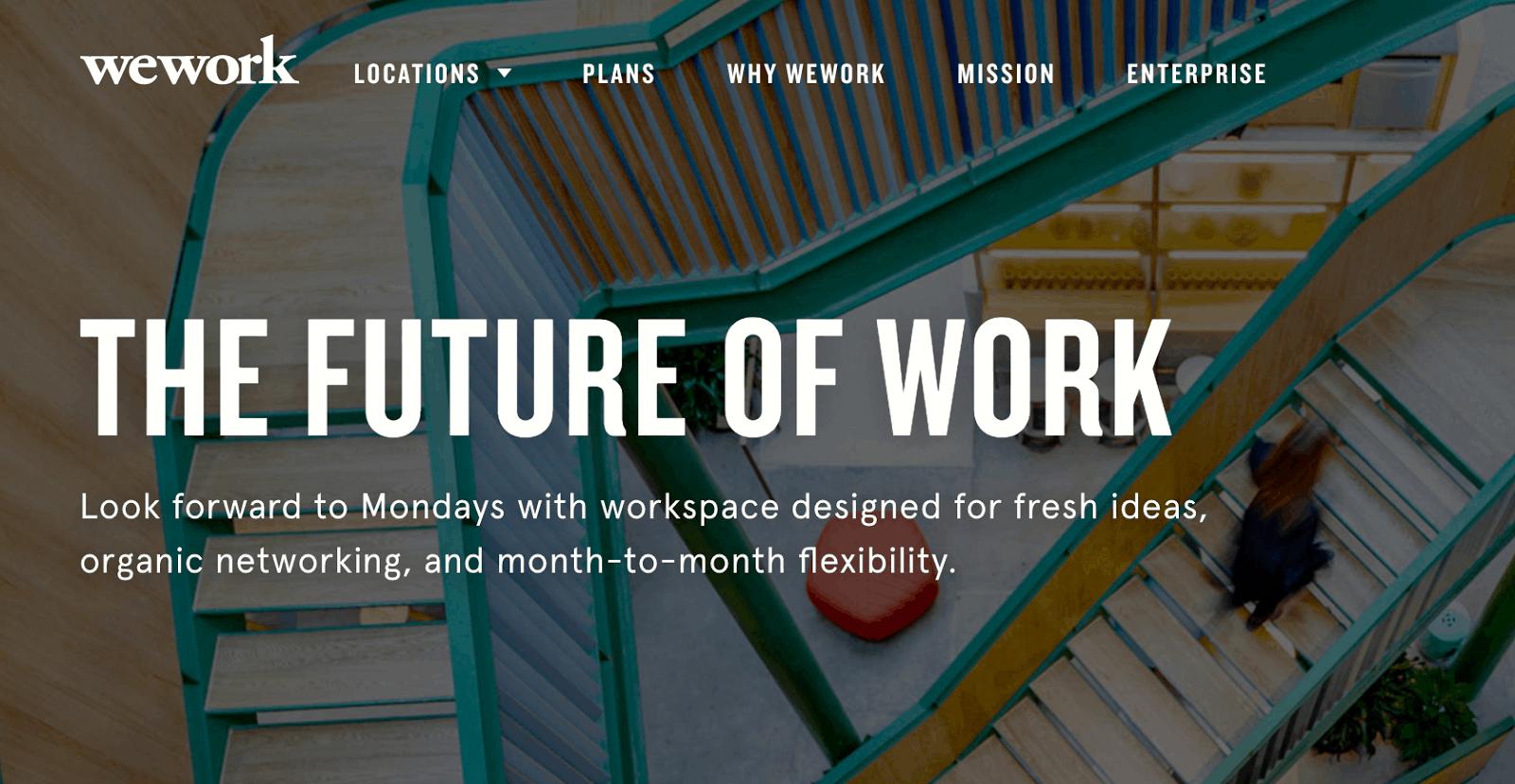 Lonely Entrepreneur- WeWork Homepage Screenshot