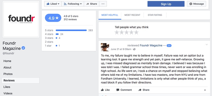 User generated content- Foundr Facebook Reviews