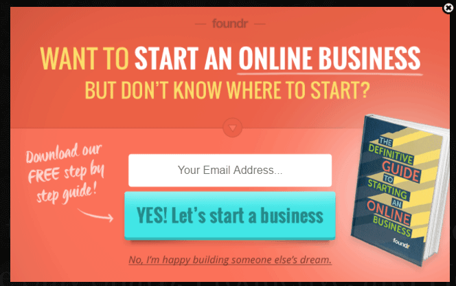 Email list- foundr exit intent pop up