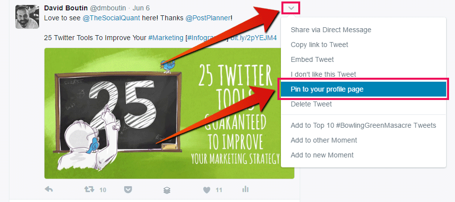 Email list- how to pin a tweet