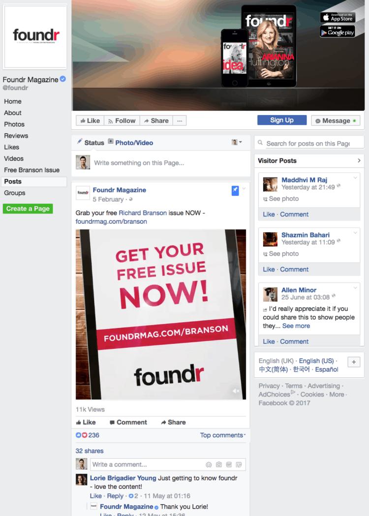 How to start an online business - Foundr Facebook