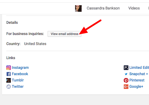 Find someone's email address- Cassandra Bankson YouTube
