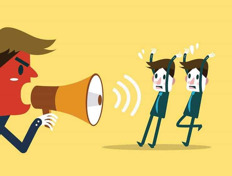 Fear of leading- man Shouting with Megaphone Cartoon Photo