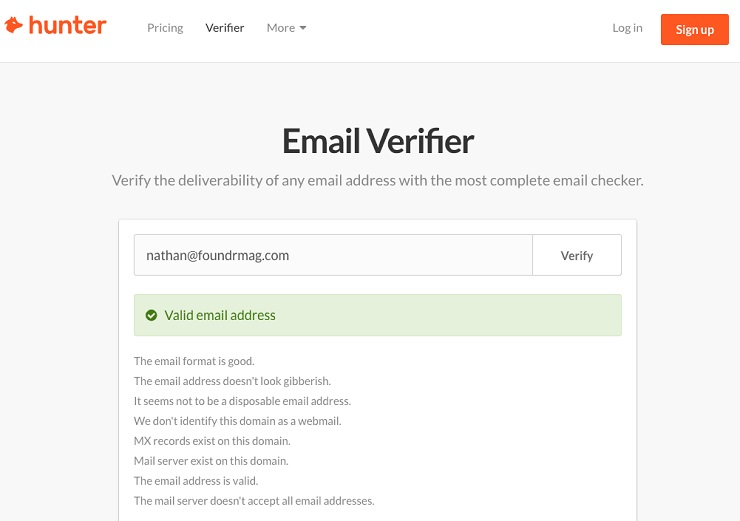 Find someone's email address- Hunter search results