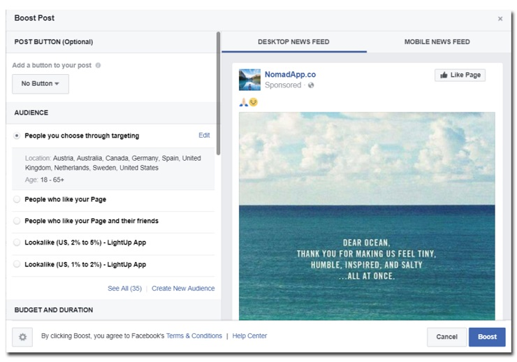 Growth-hack your Facebook page- NomadApp.Co Boosted Facebook Post