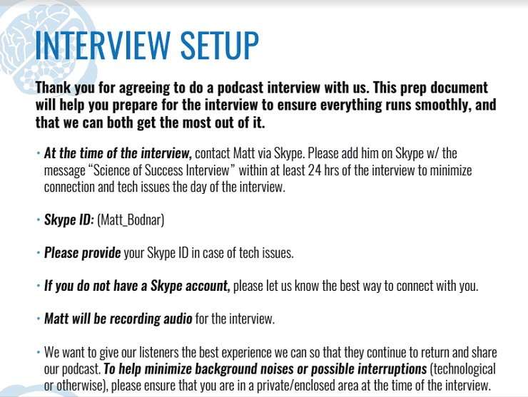 Interview Setup Sample Email Template