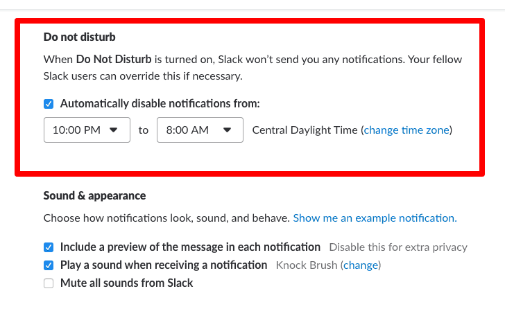 Set your Do Not Disturb scheduled on Slack to have healthy sleep habits