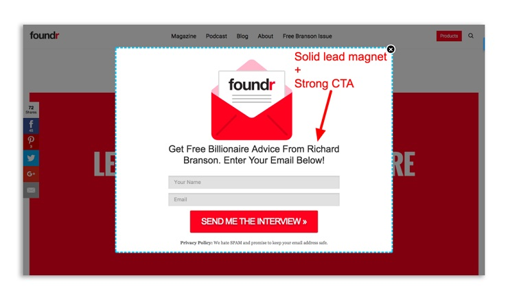 Foundr's About Us page includes an irresistible lead magnet 2