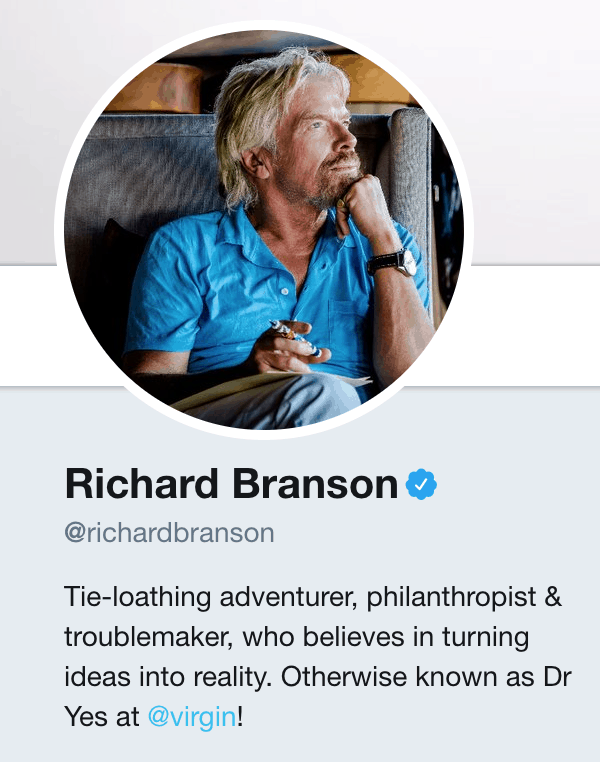 Richard Branson's Twitter account showing the importance of personal branding