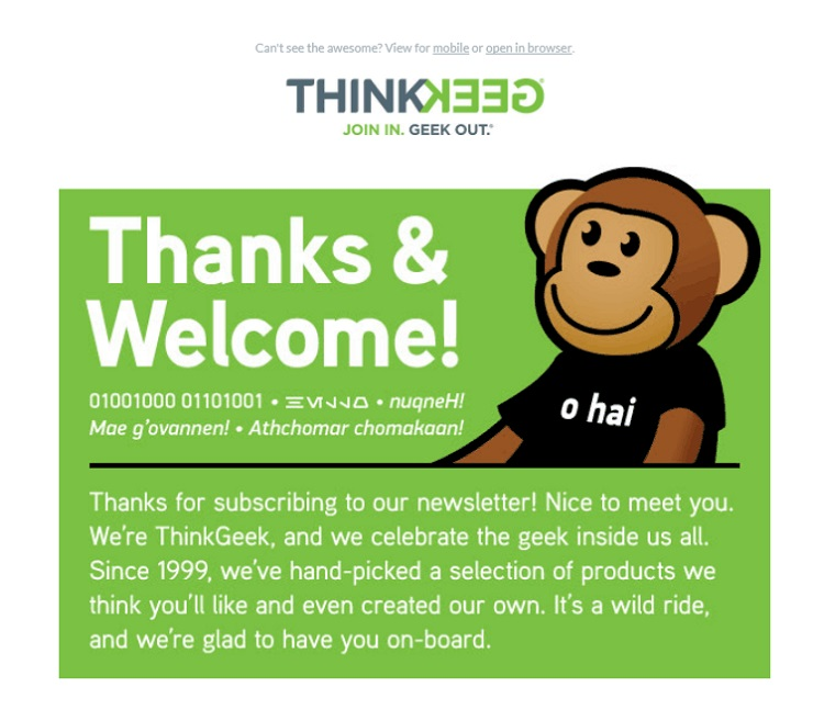 ThinkGeek uses a welcome email when doing Email personalization