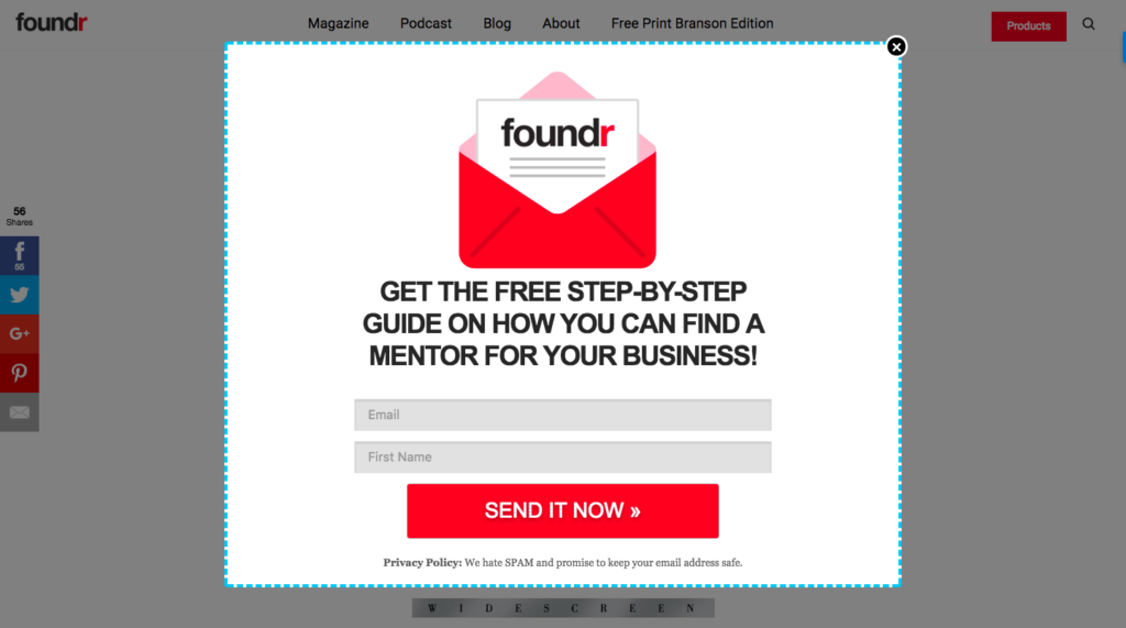 Foundr uses Lead magnets for Blog monetization