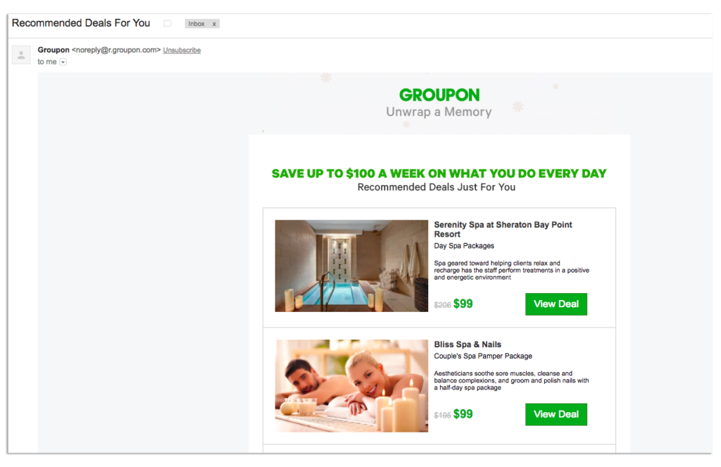 Groupon Newsletter emails