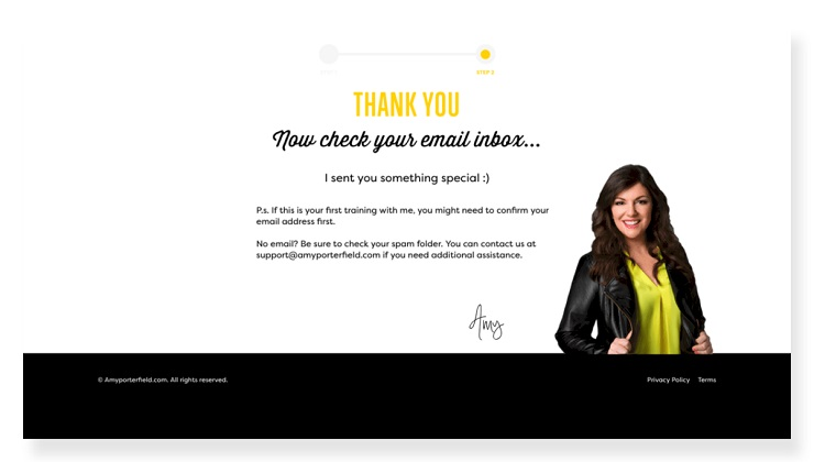 Conversion-centered design example from Amy Porterfield