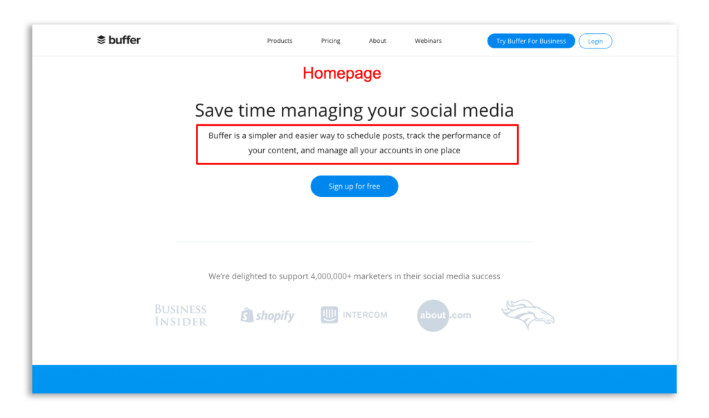 Bufferdoes a great job of including a clear value proposition on their About Us Page