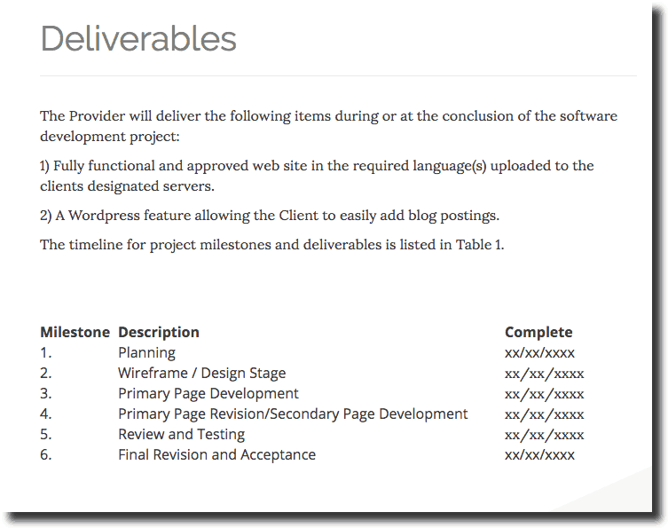 Sample Web Design Proposal Deliverables