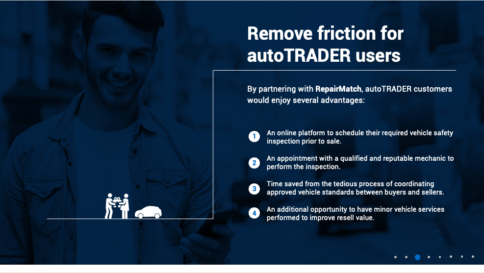 How to find a business partner, example slides from a successful pitch with AutoTRADER