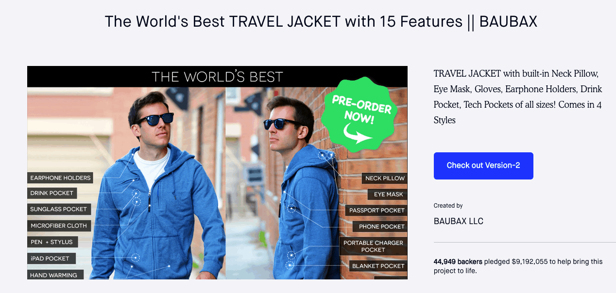 Kickstarter page added a button that takes viewers over to the website for version 2