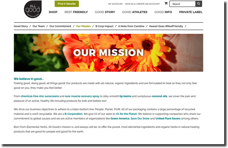 mission statement for All Good, an organic body care products company