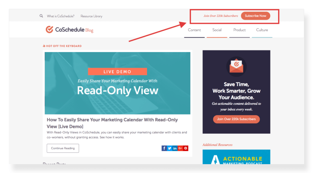 Conversion-centered design example from CoSchedule