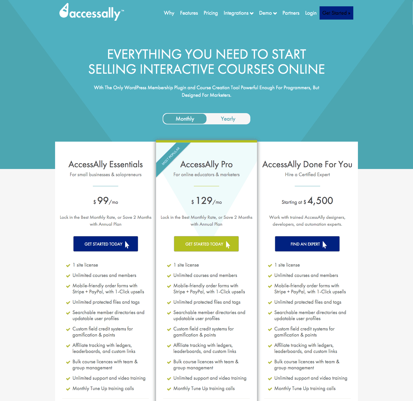 AccessAlly Pricing Get Started Selling Online Courses and Memberships
