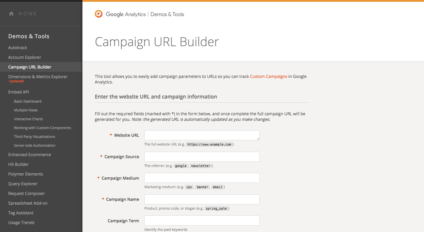 Campaign URL Builder Google Analytics Demos Tools
