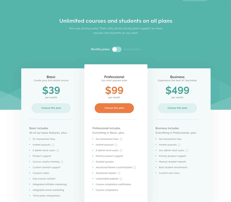 Teachable Compare Our Pricing or Start With the Free Plan