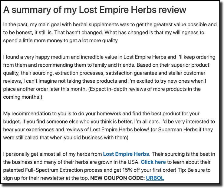 a summary of my lost empire herbs review