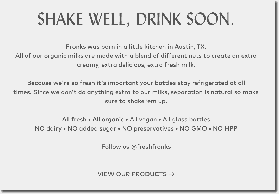 Ecommerce web design shake well drink soon by Fronks