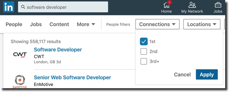 Start by looking in your LinkedIn account for people who work as software developers