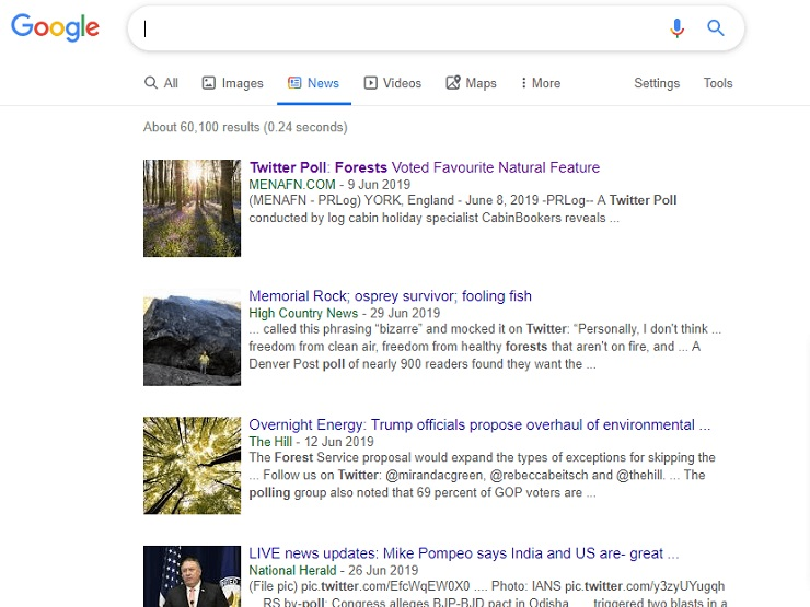 Twitter poll picked up in Google News results