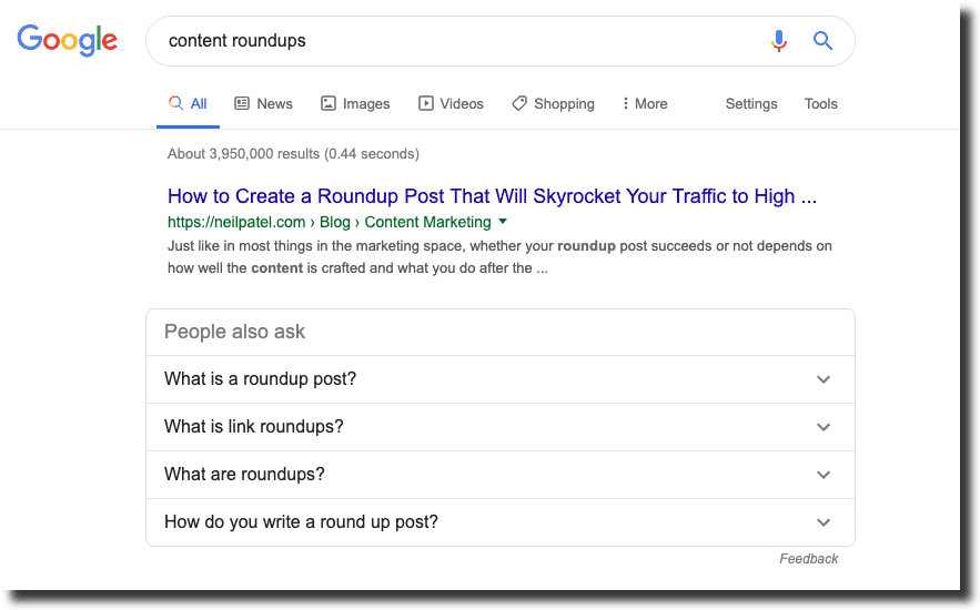 searching for content roundups on google