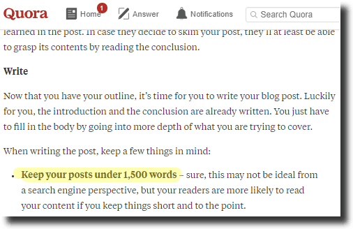 Grow an email list strategy suggests limiting article to 1,500 words in Quora Neil Patel