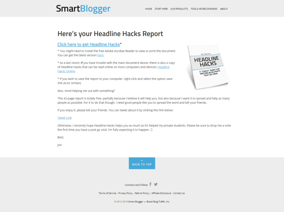 SmartBlogger email showing a post-conversion strategy