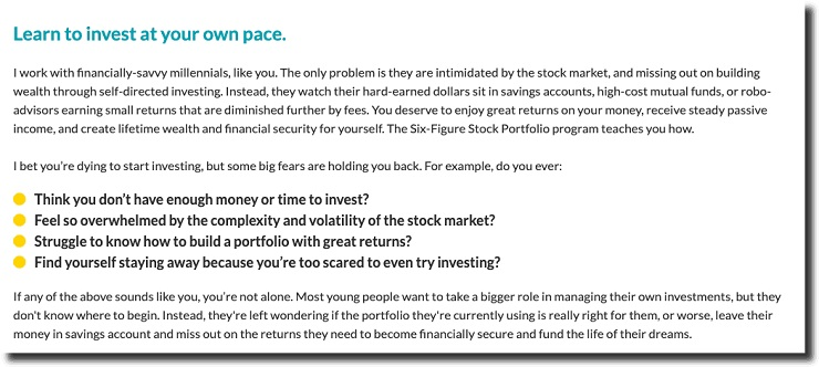 The Six Figure Stock Portfolio calling out their target market's most prevalent objections