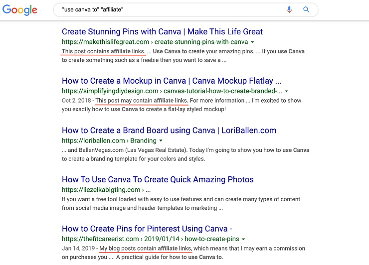 Canva to'' + ''affiliate'' google search