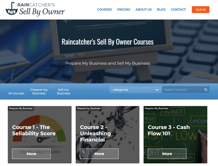 Raincatcher's Sell By Owner man landing page