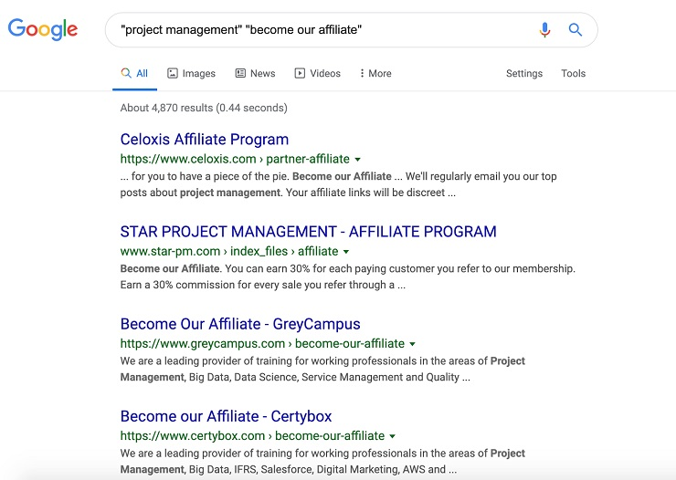 ''project management'' + ''become our affiliate'' google search