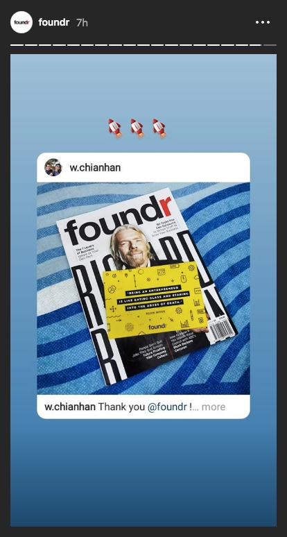 foundr instagram stories repost richard branson magazine 2