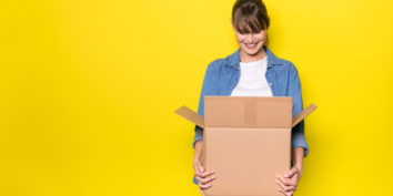 What to sell on amazon box with woman looking in